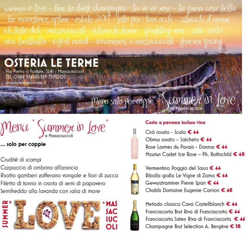 Summer in Love da Ristorante Pizzeria Enoteca Le Terme a Massaciuccoli