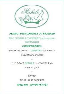 Menù Pausa Pranzo da Ristorante Pizzeria Da Michele a Marina di Pietrasanta