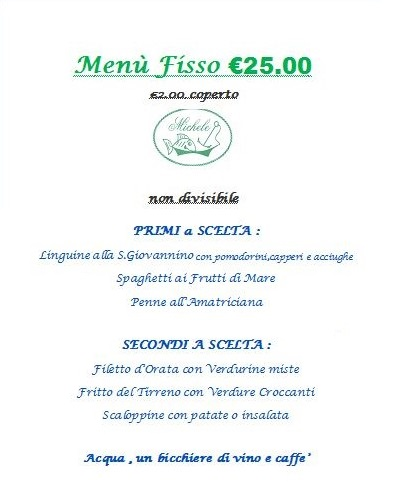 Menù fisso a Pranzo e Cena da Ristorante Pizzeria Da Michele a Marina di Pietrasanta